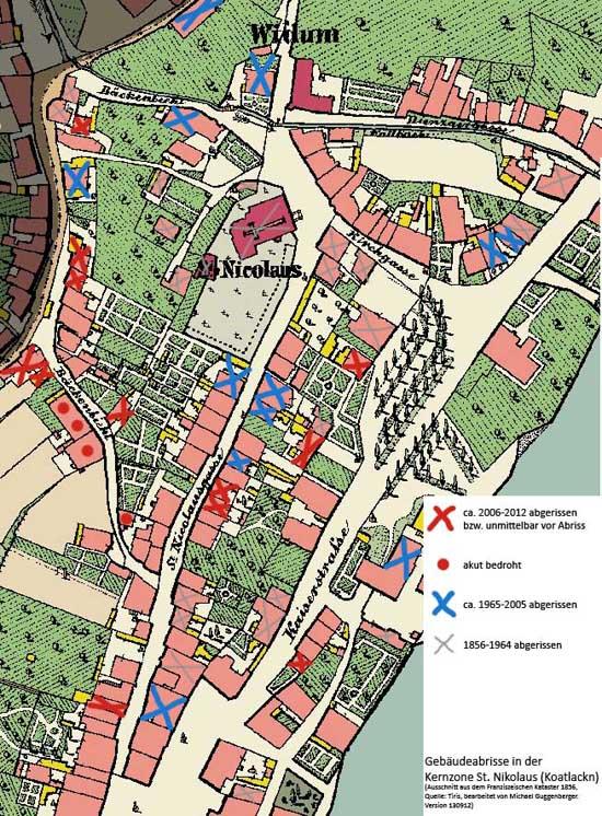gebäudeabrisse in st. nikolaus/koatlackn, innsbruck (stand 130912)